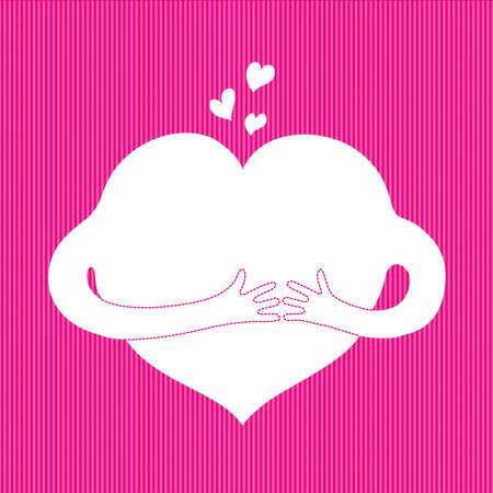 cartoon heart with hands on a pink textile background  Vector
