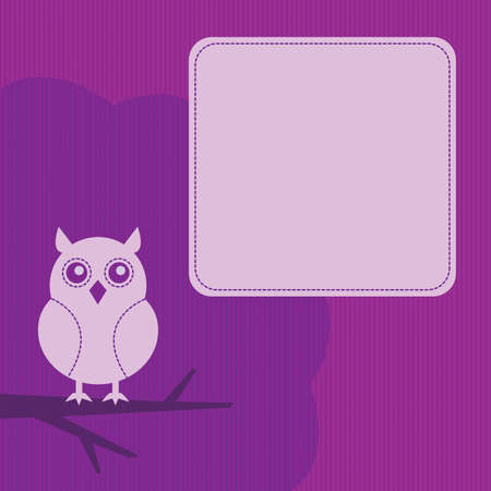 frame with night owl sitting on a branch Stock Vector - 10429142