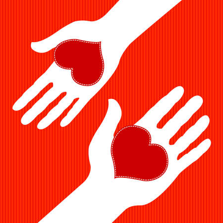 hands holding heart: Man and woman exchanging Hearts on Valentines Day Illustration