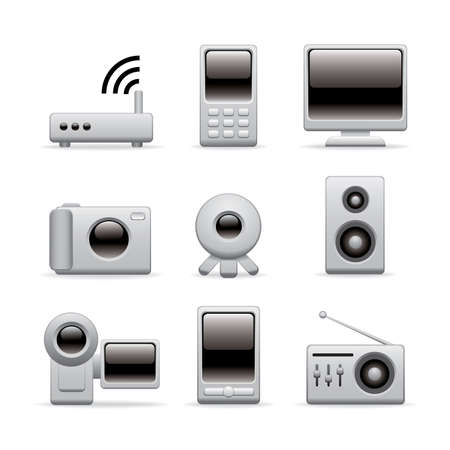 multimedia equipment icons for website or presentation