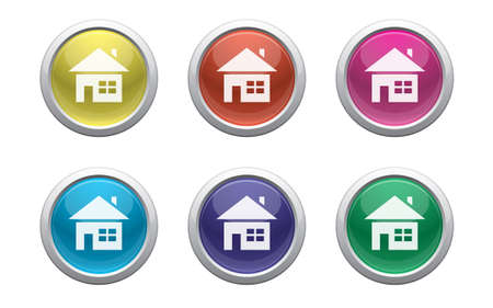 colour plastic buttons with home symbol on white Illustration