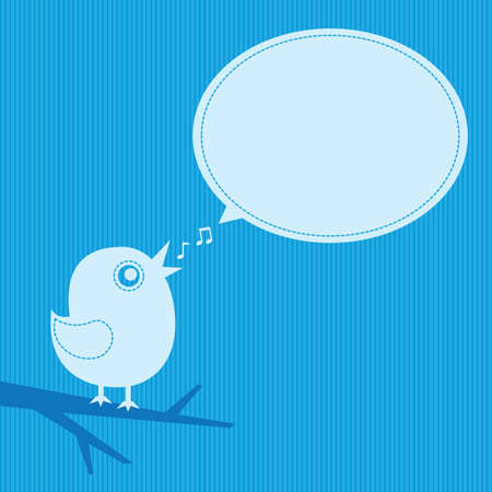 singing bird with speech cloud on a blue background Çizim