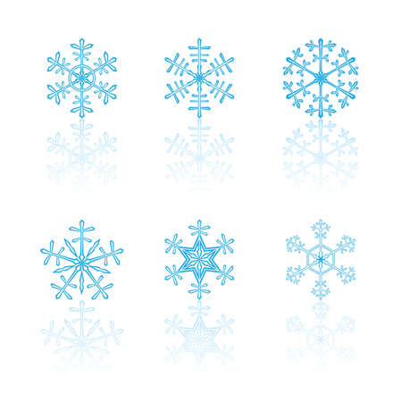 different blue snowflakes on a white reflection plate Illustration