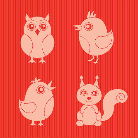red squirrel: four stylish animals on a red textile background