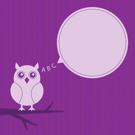 stylish owl with speech bubble Vector