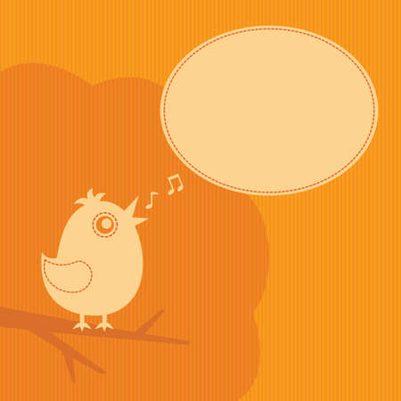 twitter bird with speech cloud on an orange background Stock Vector - 10429135