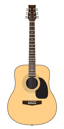acoustic guitar isolated on white Stock Vector - 10429196