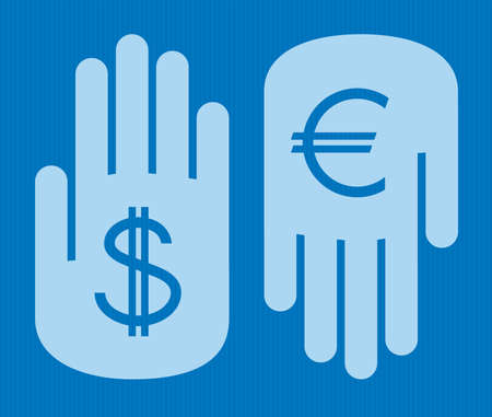 two hands exchanging foreign currency : dollar for euro Stock Vector - 10429139