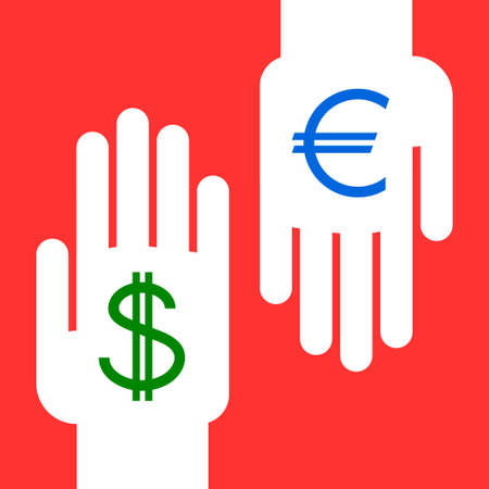 exchanging: two hands exchanging foreign currency : dollar for euro
