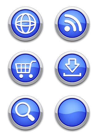 rss sign: web icons with blue shiny round buttons on white. Illustration