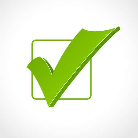 to tick: marca de verificación verde en perspectiva