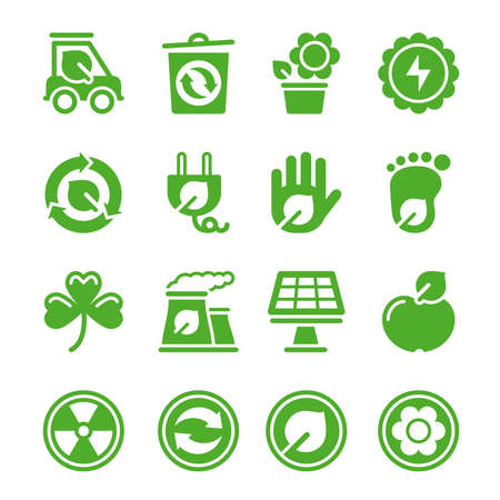 Green environmental icons. File is layered. All elements are separate. High Resolution JPG included.  Vector