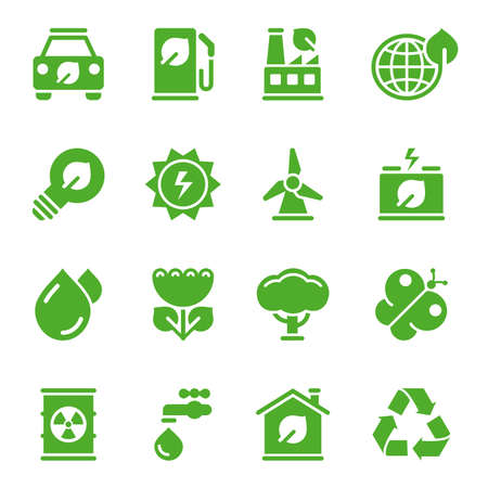 Green environmental icons. Easy to edit. High Resolution JPG included.