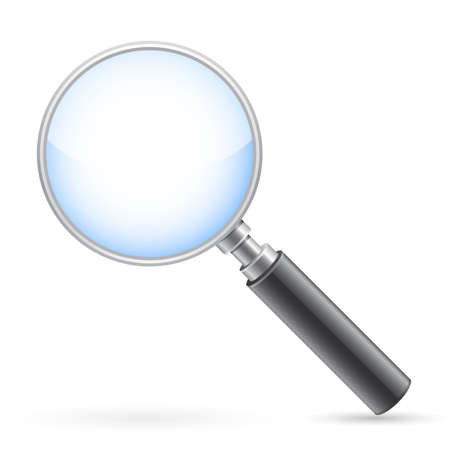 Magnifying glass on white with shadow