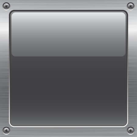 shiny gray button on metal surface. All elements are separated. File is layered