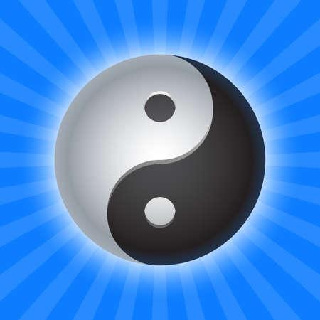 taoist: shiny yin yang symbol on blue
