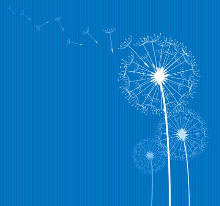 blowing dandelion: dente di leone al vento su sfondo blu tessile Vettoriali