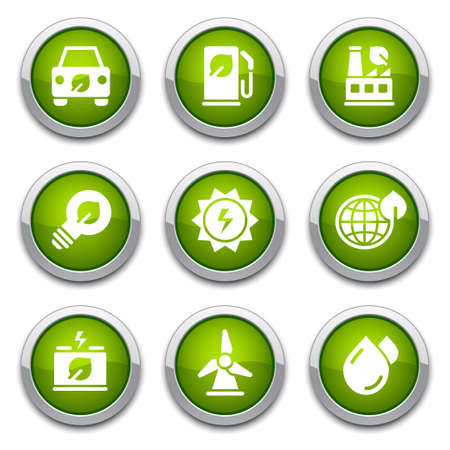 Green ecology buttons  Illustration