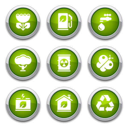 Green ecology buttons Stock Vector - 13202083