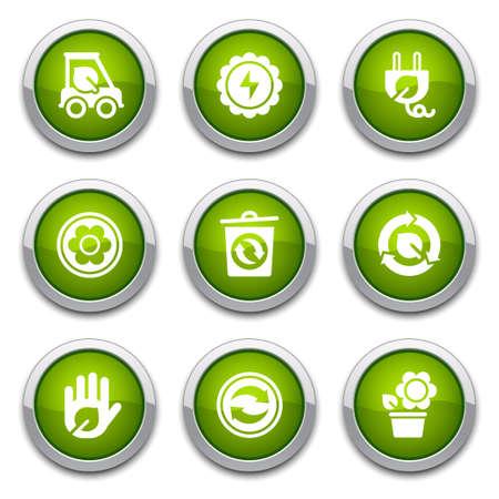 Green ecology buttons Stock Vector - 13202085