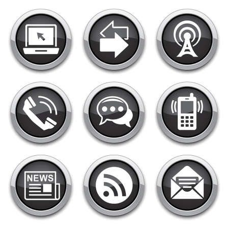 black Communication buttons  Illustration