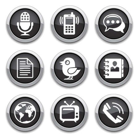 black Communication buttons Stock Vector - 13228162