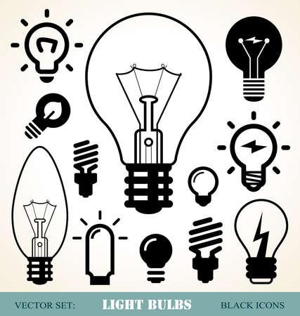 focos de luz: conjunto de iconos de bombillas