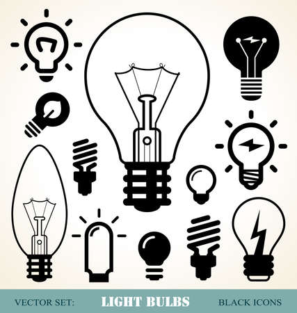idea light bulb: set of light bulbs icons