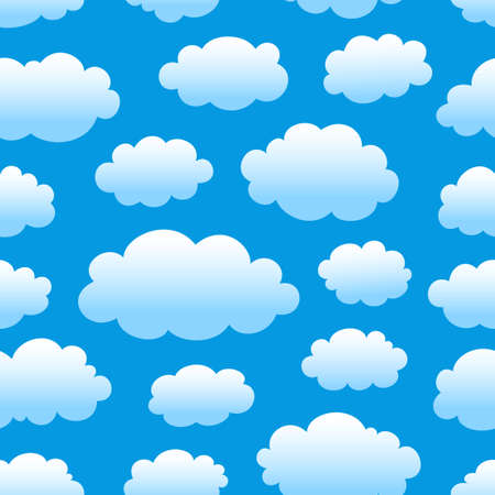 clouds in sky: blue cloudy sky seamless pattern Illustration
