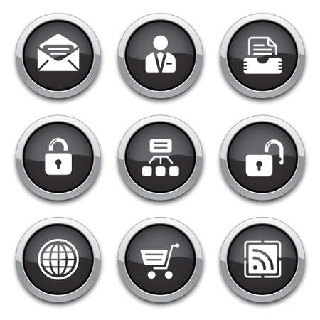 shiny buttons: black shiny web buttons for design