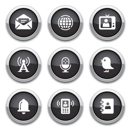 shiny button: black communication buttons