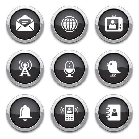 boutons noirs de communication