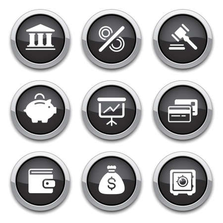 black shiny finance buttons for design Vector