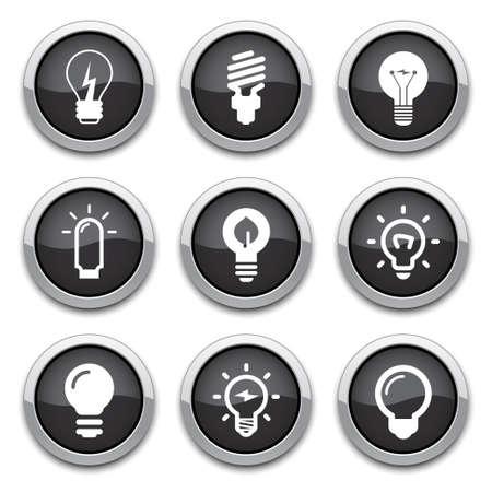 light bulbs: botones de bombillas