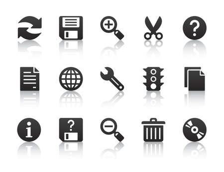 black universal software icons