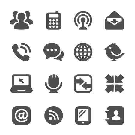 zwart communicatie pictogrammen Stock Illustratie