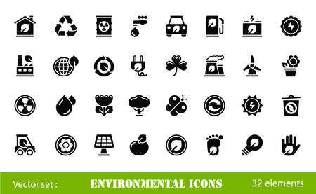 eco house: black environmental icons