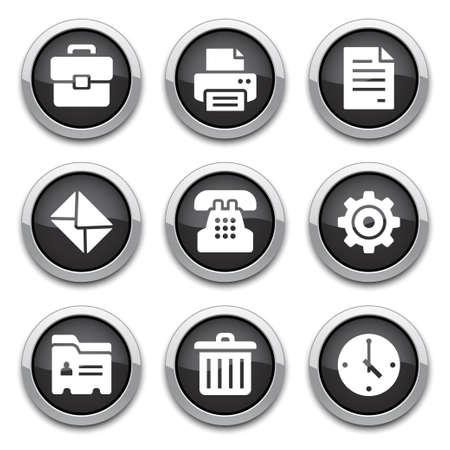icone office: boutons de bureau noir