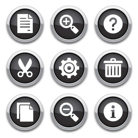 black shiny basic application buttons Vector