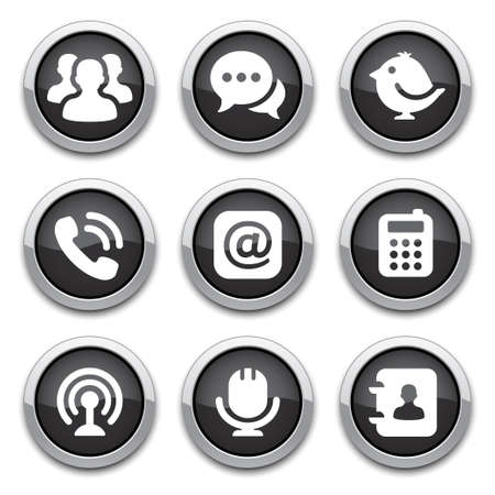 black shiny communication buttons Stock Vector - 14898163