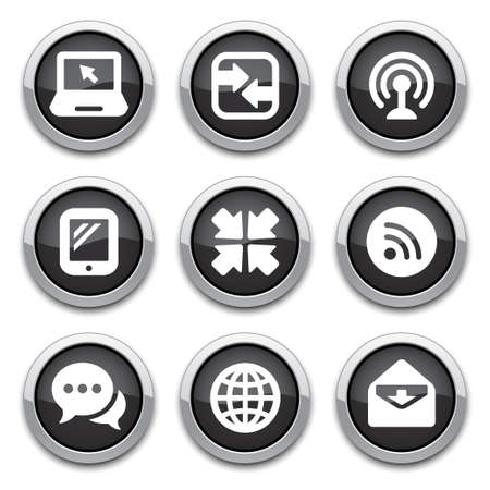 black shiny communication buttons