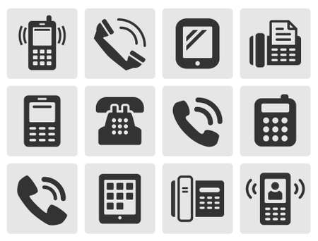 black phone and call: black phone icons for your design Illustration