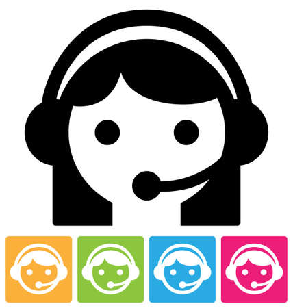 call center woman: Llame al asistente del centro en auriculares, aislados en blanco icono