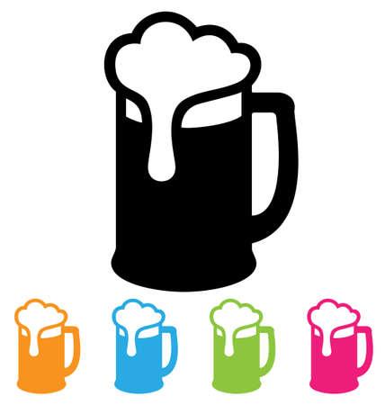 copas: icono de la taza de cerveza aislada en blanco