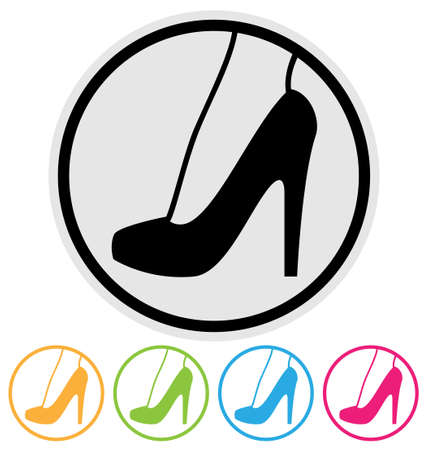 high heel shoe icon isolated on white Çizim