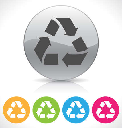 silver shiny recycle button on reflection plate illustration, contains transparencies Illustration