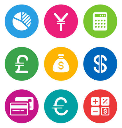 color circular finance icons isolated on white background.  EPS 10 vector illustration, contains NO transparencies