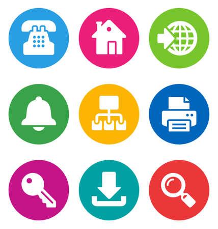publishing house: color circular web icons isolated on white background.   Illustration