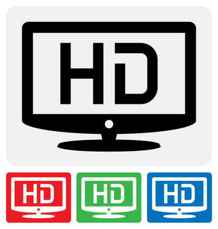 hdtv: high definition television symbol  HDTV icon Illustration