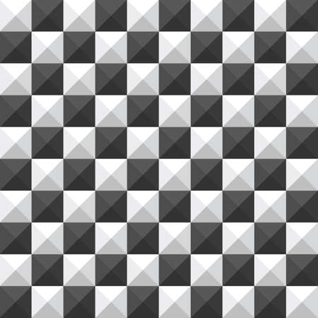 chessboard pyramid seamless pattern black and white